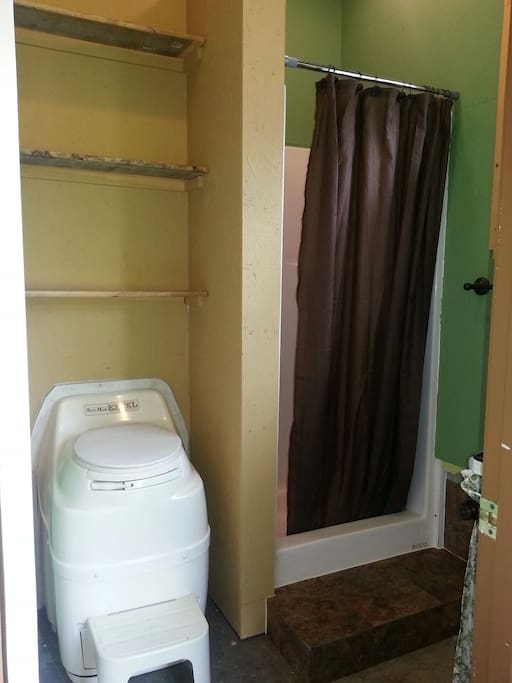 Composting Toilet, full Shower with Shampoo, Conditioner and Body Wash & Additional Items you may need: lotion, q-tips, razers