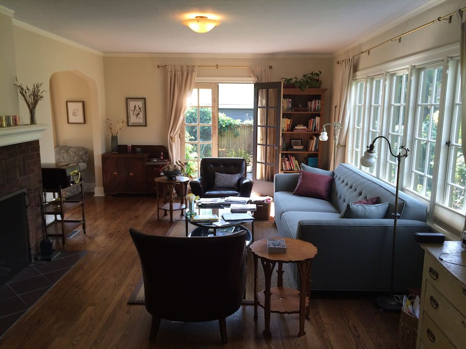 Living room with view of French doors accessing terrace