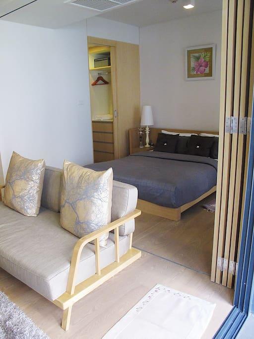 bedroom with partition door