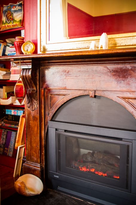 The red room with cosy gas heating