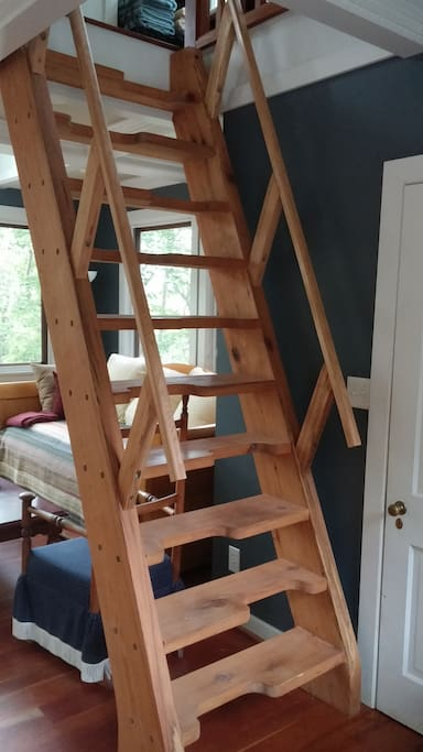 Stairs hand crafted from oak tree that grew on this property