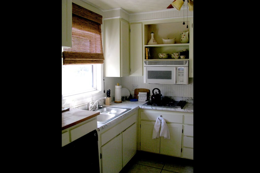Convection/microwave ovens & gas range top.