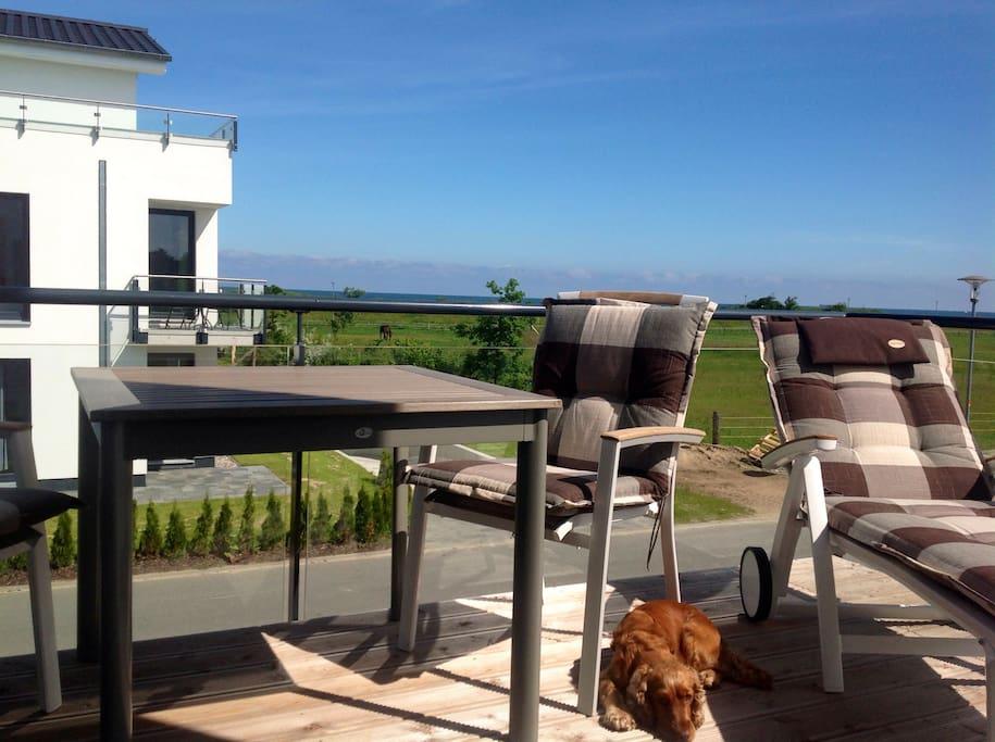 geniesse den unverbauten Blick vom Balkon auf das Meer