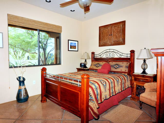 'Southwest' Queen bedroom with charming courtyard view