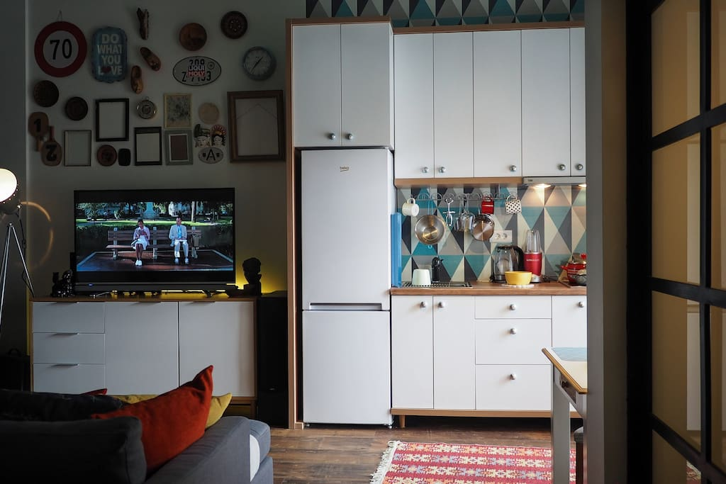 TV and Kitchen.