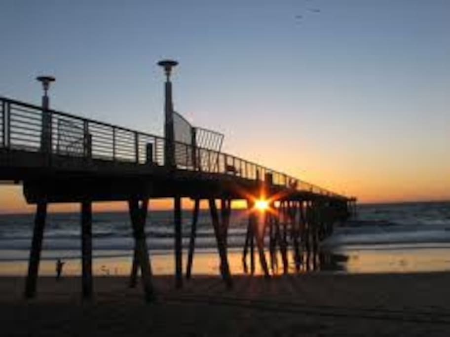 The Hermosa Beach Pier at sunset, just a few blocks away.