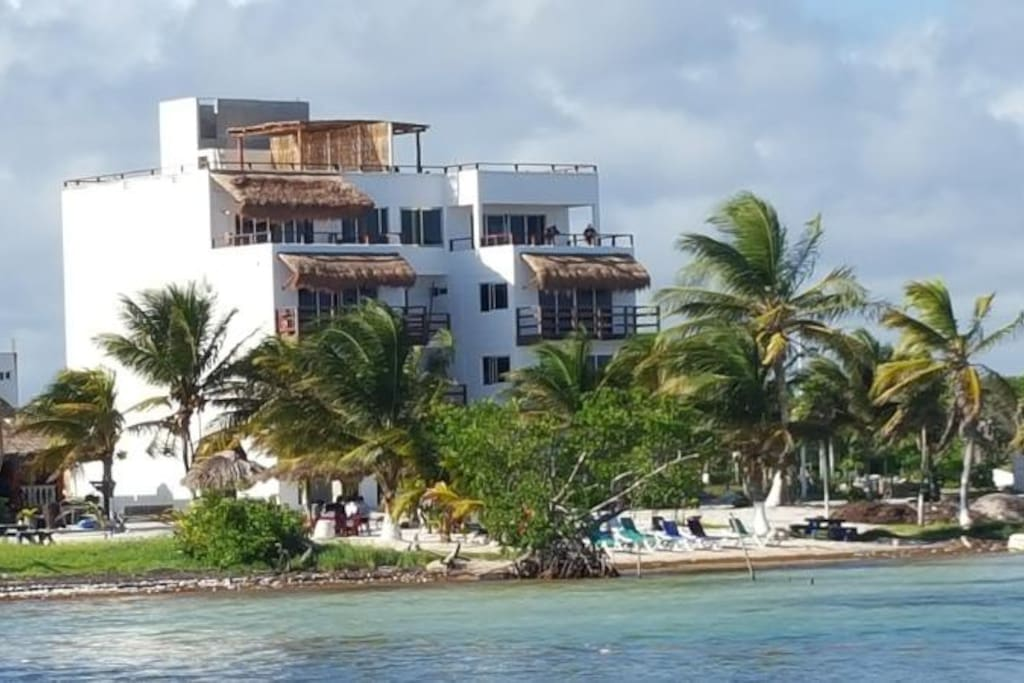 View of condo from pier