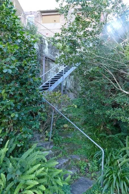 stairs to access backyard