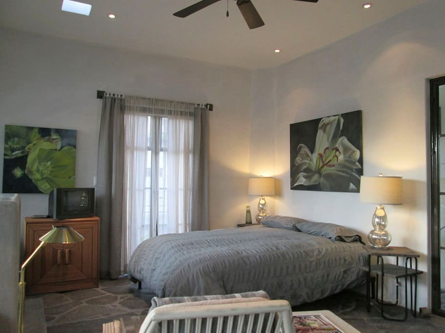 Bedroom area with queen size bed.  Doors to small balcony. Ceiling fan.