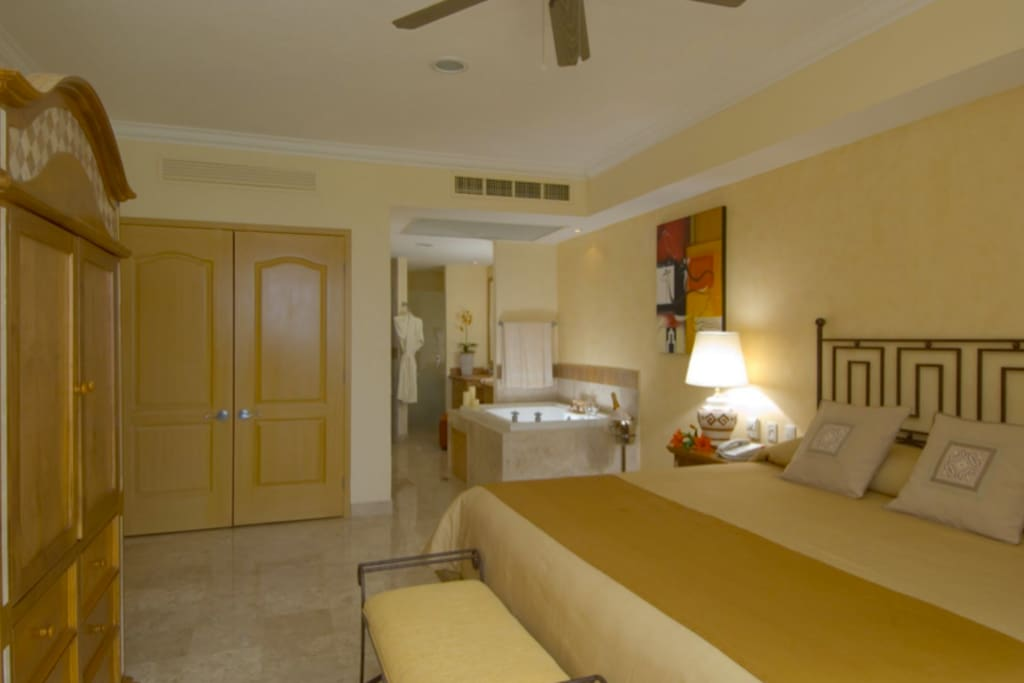 Bathroom with luxurious jetted tub, king size bed.