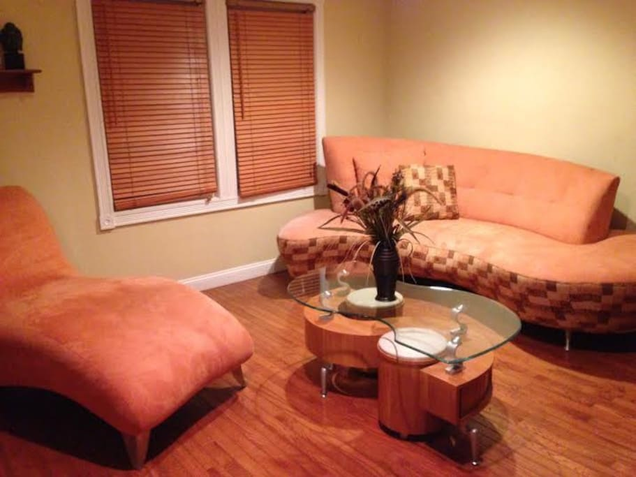 Beautiful micro suede sofa, chaise and chair in the living room