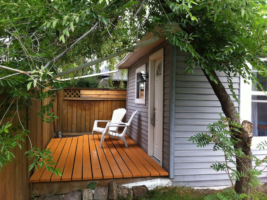 Private deck on laneway side.