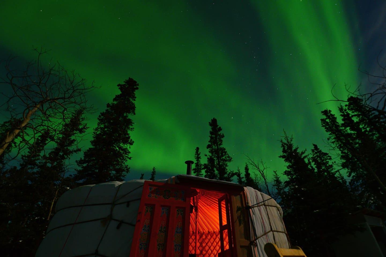 Northern Lights above the yurt.
