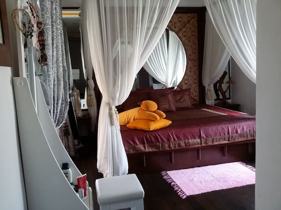 Super king size bed(7ft),attached bathroom,huge bath tub and shower.