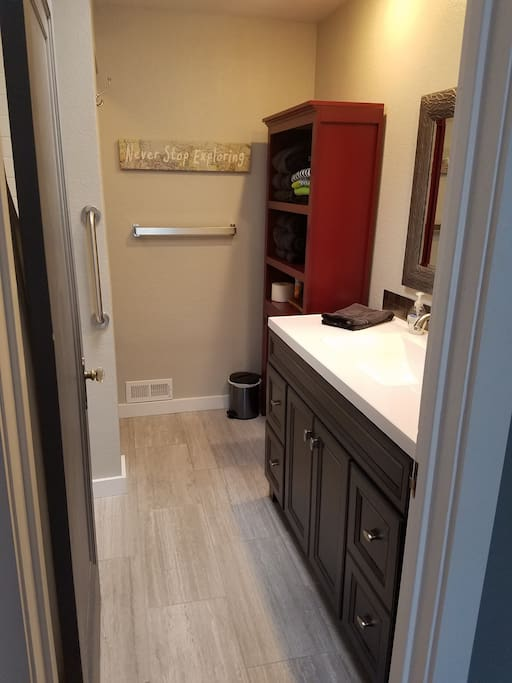 Heated tile floor for cozy comfort on crisp Colorado mornings! (Bath entrance thru Master)