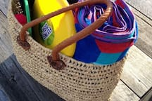 our brand new beach bag, with towels and Frisbee and picnic stuff!