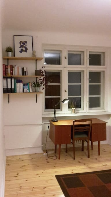 Private, quiet, office with desks