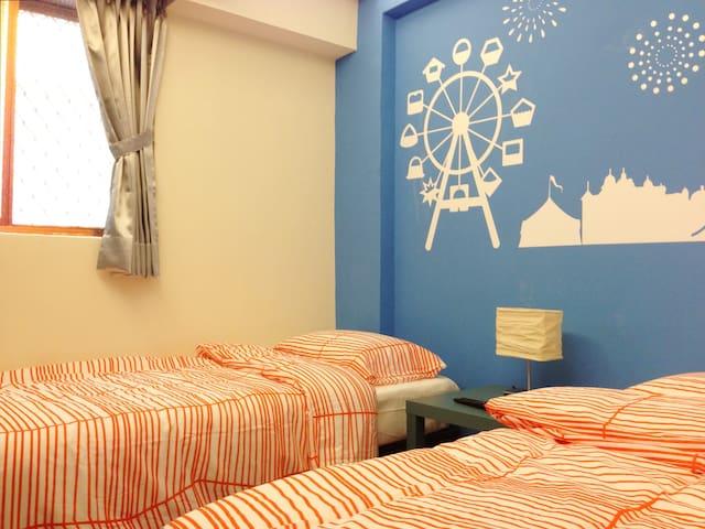逢甲夜市雙床套房,twin beds in a room