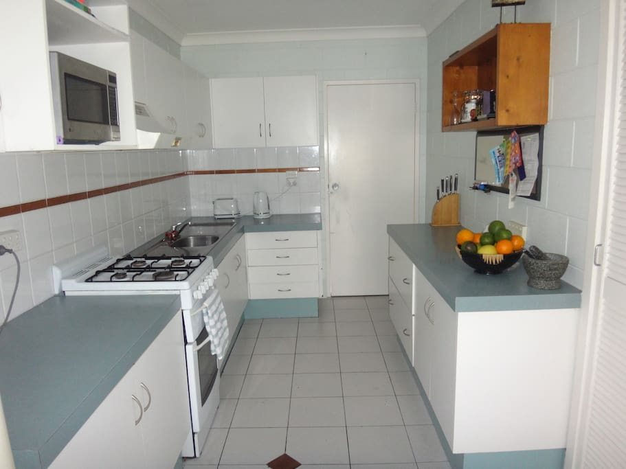 Full sized kitchen equipped for your convenience.