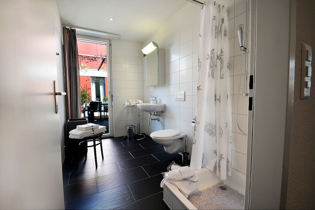 your private bathroom (en-suite) with shower/WC, towels and bathrobe