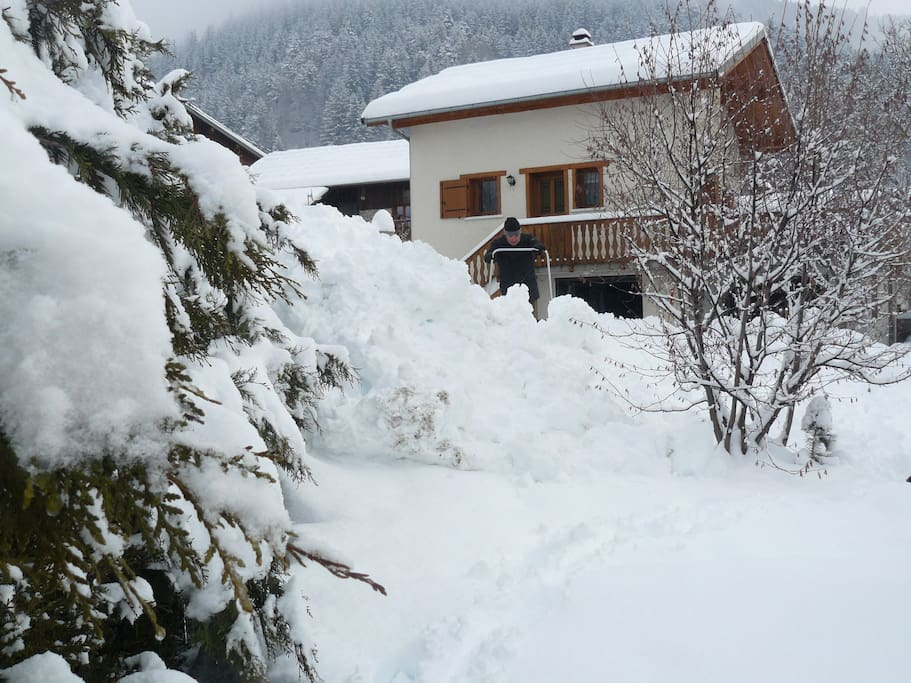 View of house from garden in winter