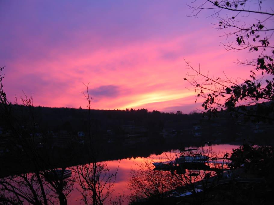 Sunset as seen through your bedroom window
