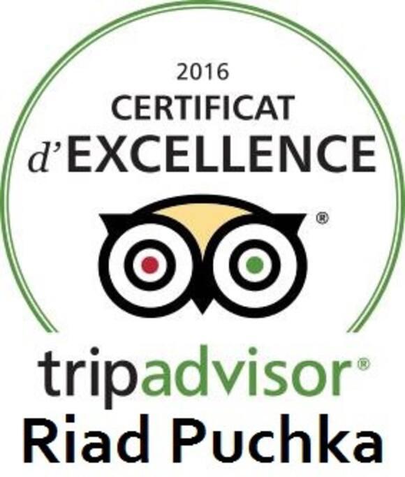 récompense de Tipadvisor pour le Riad Puchka