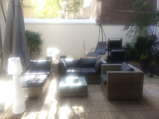 chambre privée avec terrasse et jardin-PARIS 15