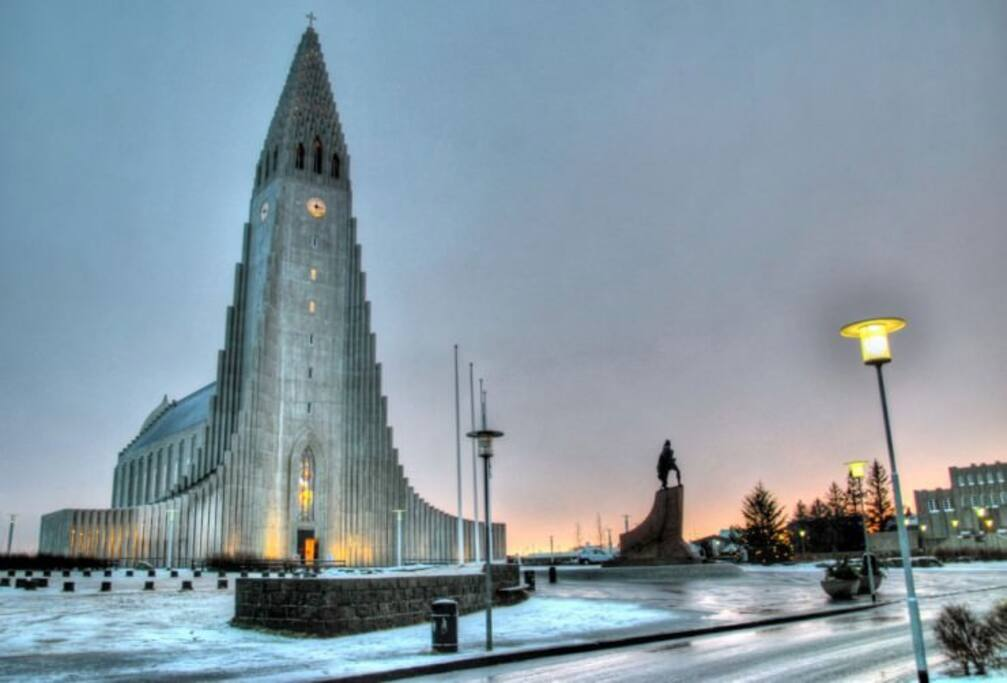 Hallgrimskirkja  Church tower offers panoramic view over the city.