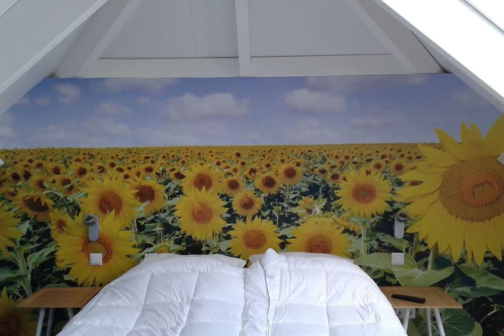 Slapen tussen de zonnebloemen op je hastens....