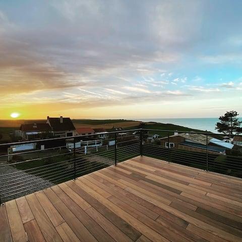 Le cube, villa d'architecte vue mer