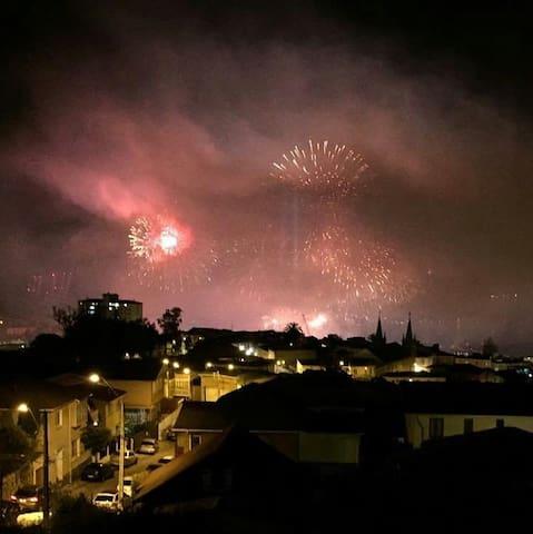 Vista desde la terraza la noche de Año Nuevo