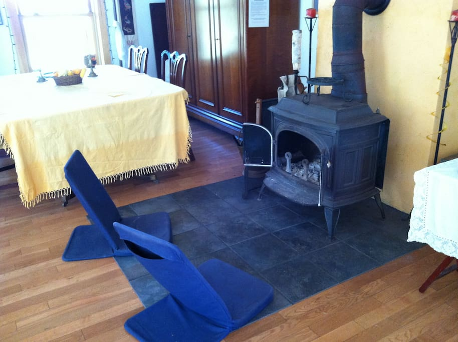 Wood stove serves as a fireplace, too!