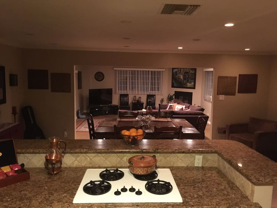 Center island kitchen with large open floor plan. Be advised I don't have a microwave. By choice.