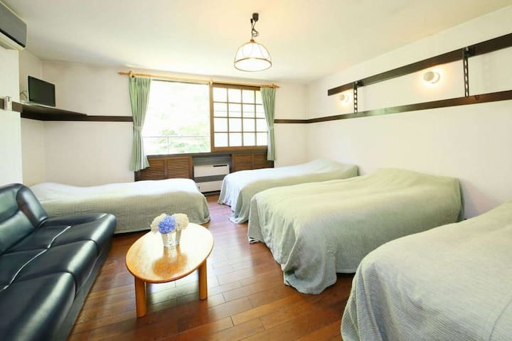 2 & half hours by train from Tokyo, relaxing Western style house  located within nature(Dinner & breakfast included)