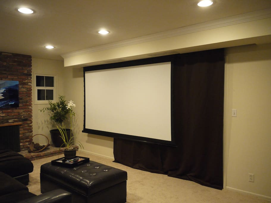 Our projector entertainment system in the living room.