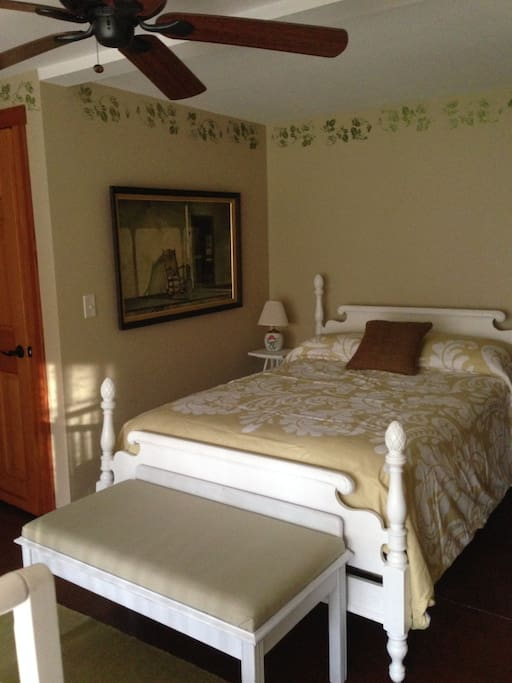 Full Bed Bedroom has a private Full Bath with tub