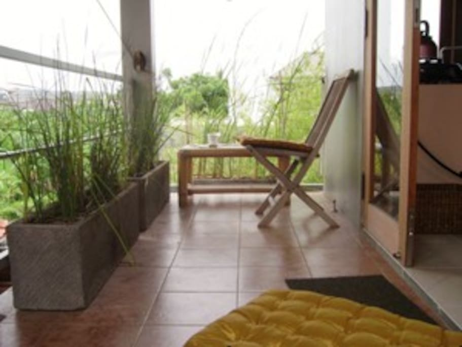 Your own private balcony overlooking rice paddies - have your breakfasts here