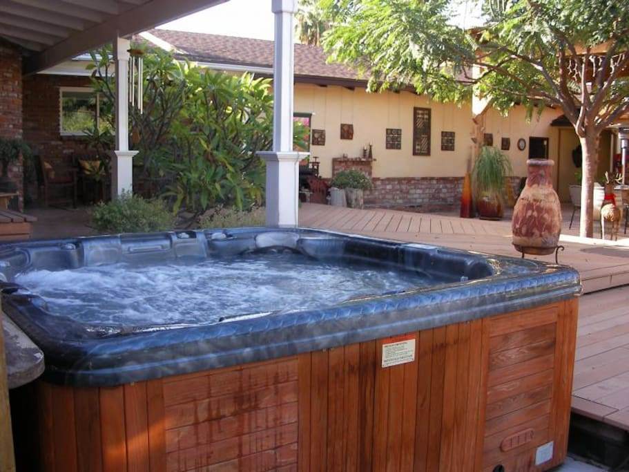 Large patio and warm Jacuzzi