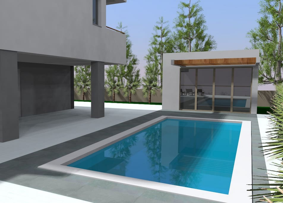Private 33msq pool with whirlpool and 8 lounge chairs, summer kitchen