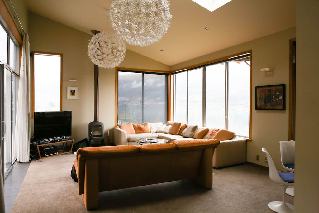 Comfortable living room with TV and beautiful views