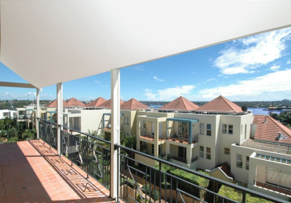 Large 12 metre long balcony. Outdoor setting on each balcony