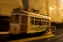 The nearest 28 tram stop is one minute from the flat. And here it is in action in the beautiful golden evening light.