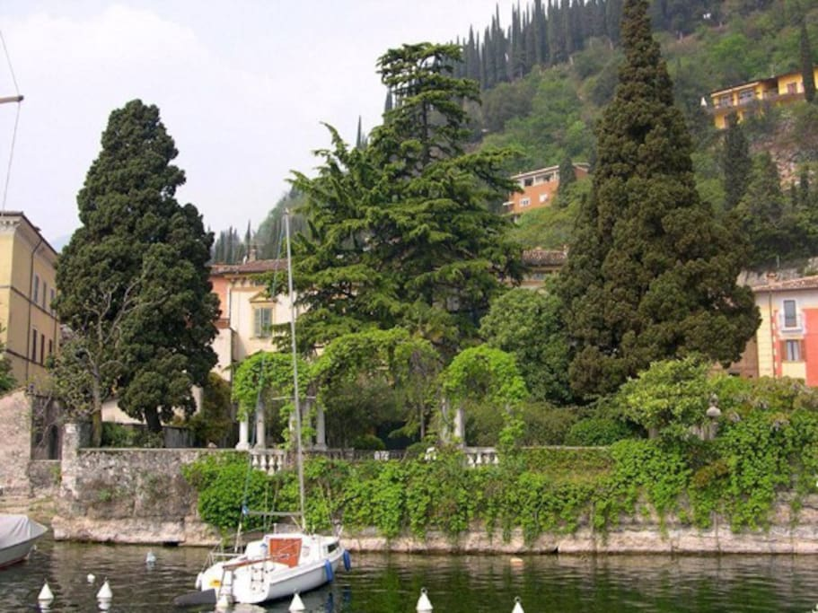 View of the villa's garden from the small harbor