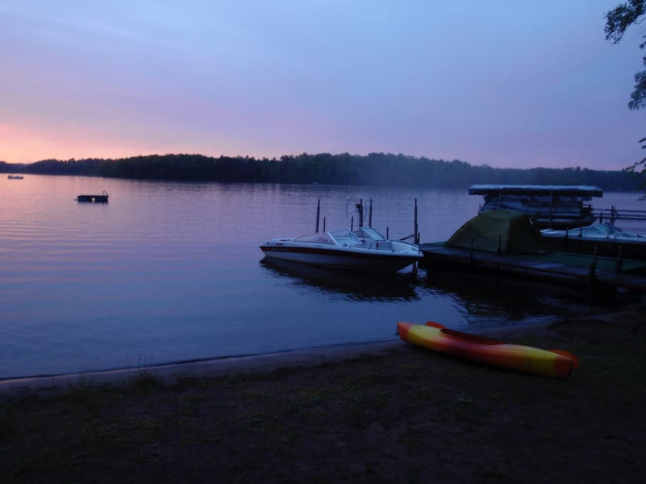 Sundown over the lake.  A view of the raft you can use.