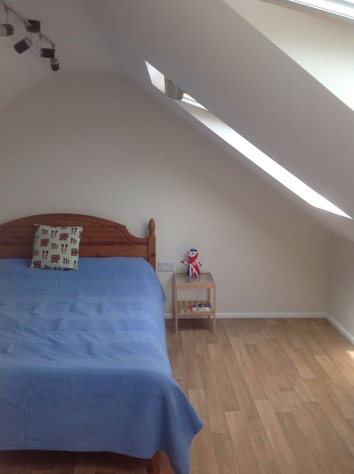 Our brand new loft room for you! A double bed + 2 single beds plus a travel cot or a small camp bed can be added.