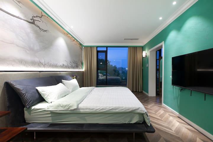 铃兰主题北欧风超大观景阳台家庭套房