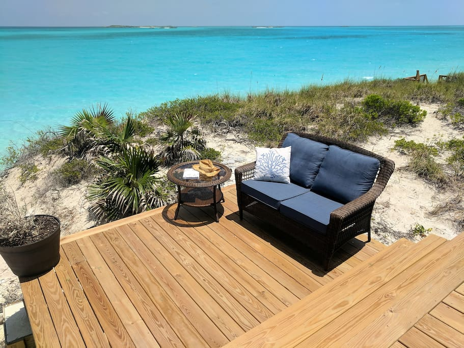 Lots of comfortable outdoor lounge space to enjoy the view and perfect weather