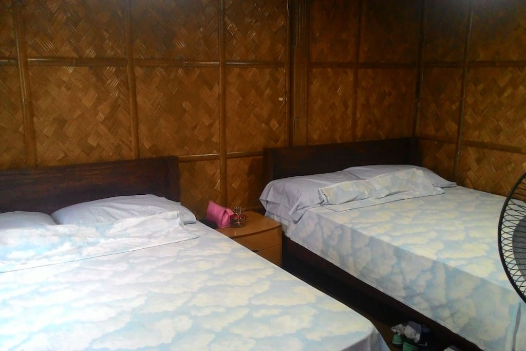 Two queen size beds in a room