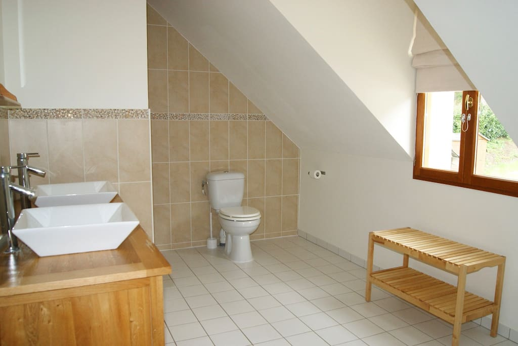 large family bathroom, with large power shower